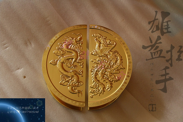 Chinese antique wooden dragon carving glass door doorknob titanium color antique luxury hotel clubs Handle