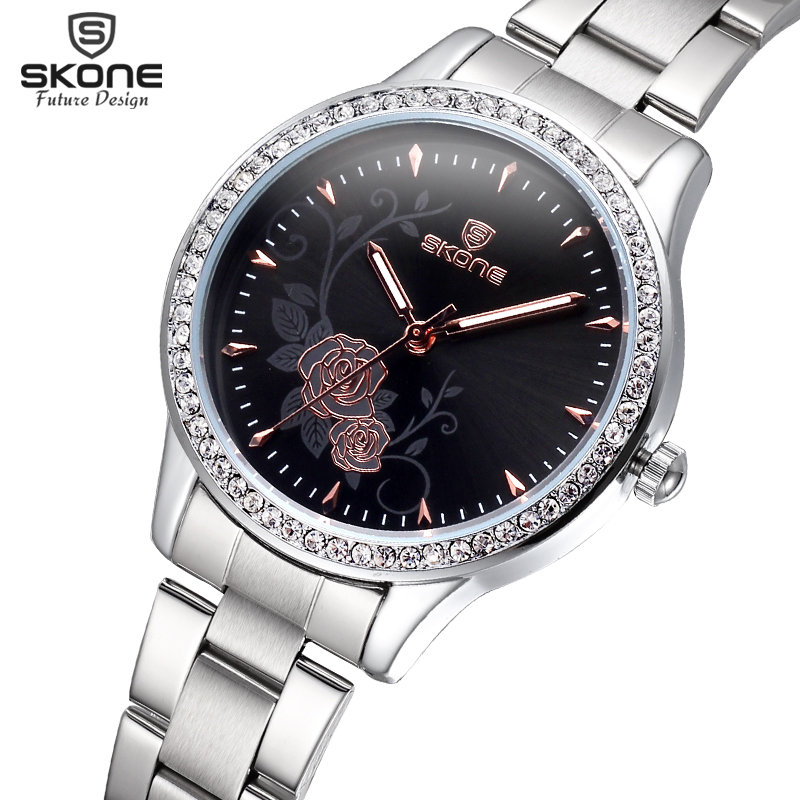 SKONE Female Silver Steel Band Flower Rhinestone Round Dial Fashion Watches Women Rose Gold Analog Quartz Girls Waterproof Watch ресурс 7705