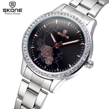 Skone de plata para mujer venda de acero de la flor Rhinestone redondo Dial relojes moda mujeres oro rosa cuarzo analógico muchachas del reloj resistente al agua