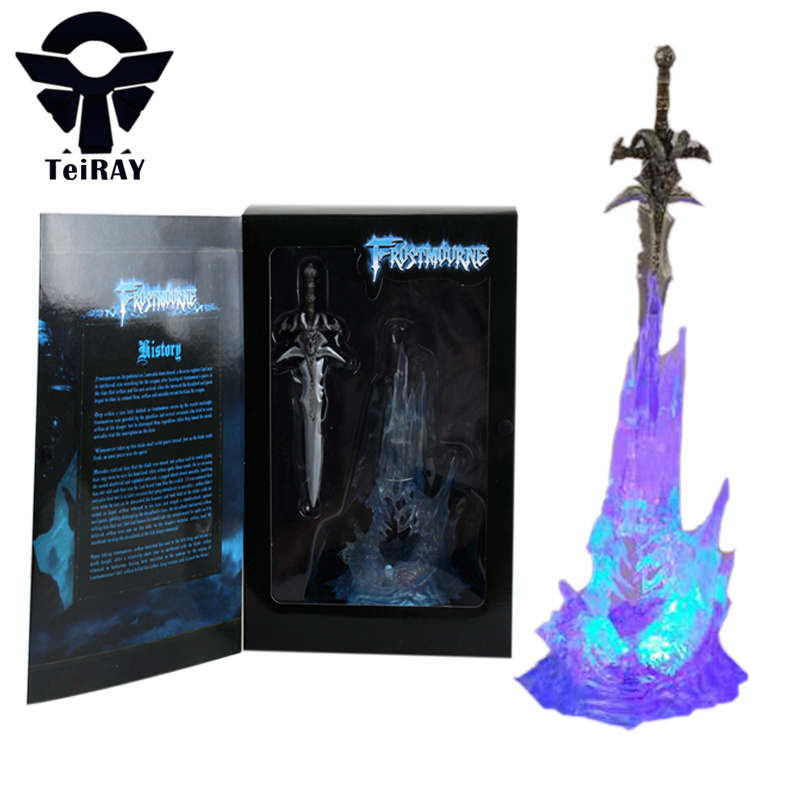 WOW Arthas Menethil's Weapon Frostmourne Sword with Lighting Figma Starz Game Anime 28cm Pvc Action Figure Toys Collection Model world of wow arthas menethil lich king deluxe action figure statue nib