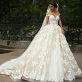 Fashion Illussion Jewel Appliqued Short Sleeve Lace Puffy Princess Wedding Dresses