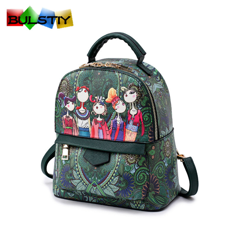2017 New Printing Women PU Leather Backpack individuality School Bags For Teenagers High Quality Girls Travel