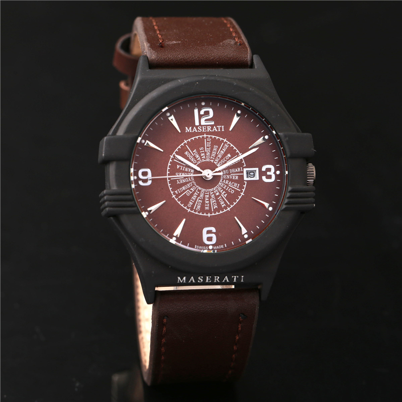 Maserati Men's Quartz Watch Business Waterproof Stainless Steel Watch Buckle Leather Round Men's Watch High Quality часы maserati