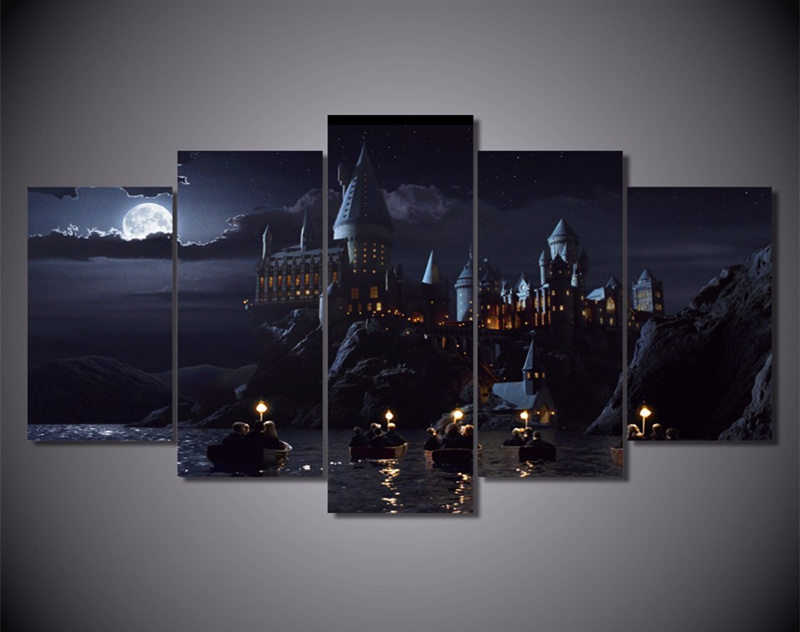 5 Piece Wall Art Canvas Prints Harry Potter School Movie