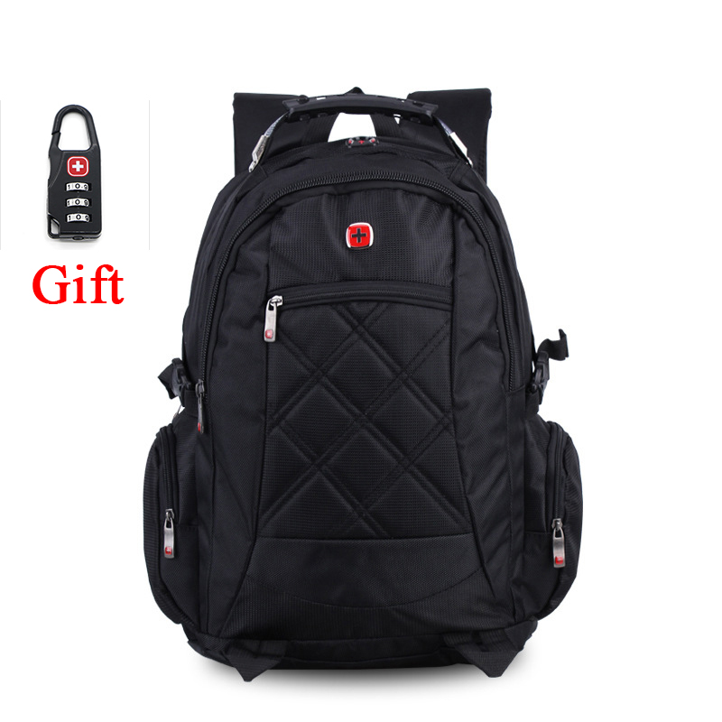10%off High Quality Waterproof Nylon Swissgear Backpack Men 15.6inch Laptop Backpack Mochila Masculina Sac A Dos Homme Free Lock