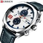 ①  CURREN Мужские Часы Спортивные мужские Дисплей Даты Серебристо-Голубые Наручные Часы Кожаный Ремешок ✔
