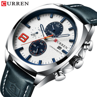 CURREN Brand Man Watch 2019 Sport Men's Date Display Silver Blue Wristwatch Clock Leather Band Waterproof Quartz Watches Relogio