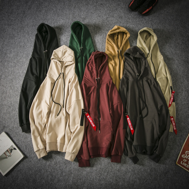 La MaxPa Hong Kong style Japanese retro hoodie loose wild solid color hooded couple jacket men and women tide casual pullover