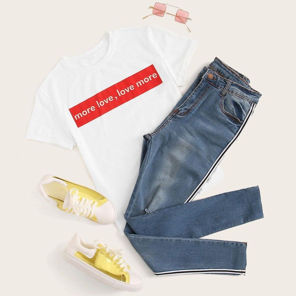 SweatyRocks Stripe Side Ripped Skinny Jeans Leisure Stretchy Long Denim Pants 19 Spring Women Streetwear Casual Blue Jeans 33