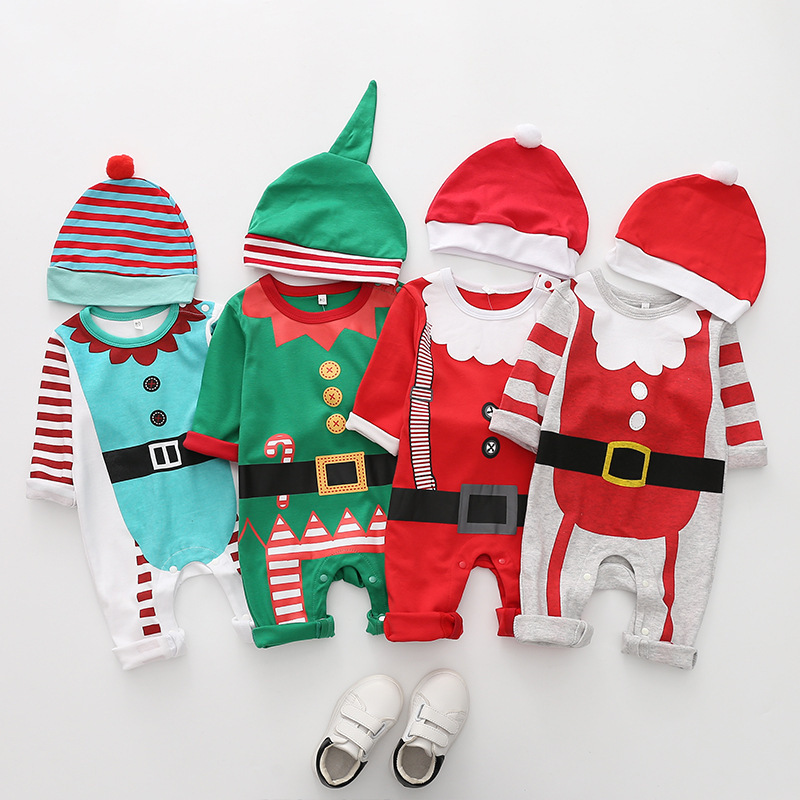 2018 New arrival cotton baby   rompers   long sleeve autumn baby clothes baby boy's girl's Christmas costume deer Santa jumpsuits