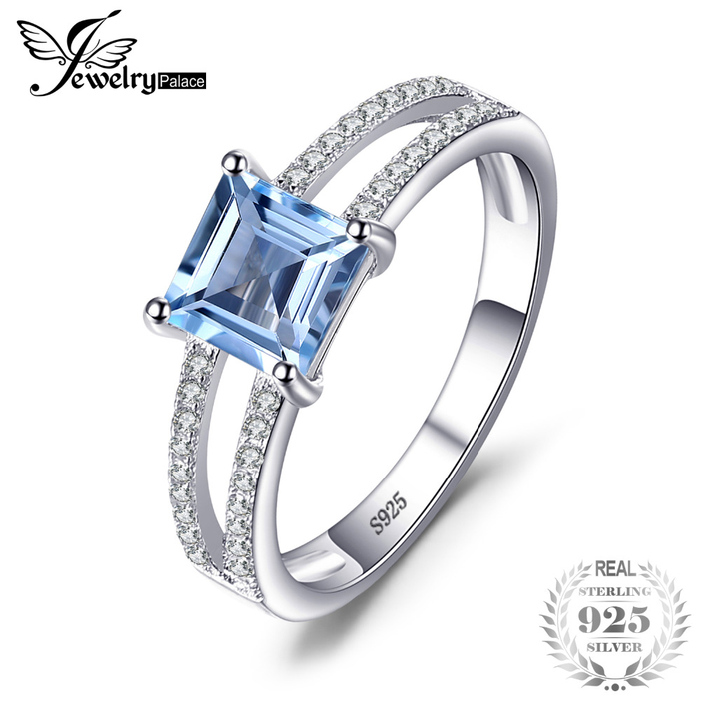 JewelryPalace 1.4ct Princess-Cut Sky Blue Topaz Wedding Anniversary Ring For Woman's Fashion 100% 925 Sterling Silver Jewelry