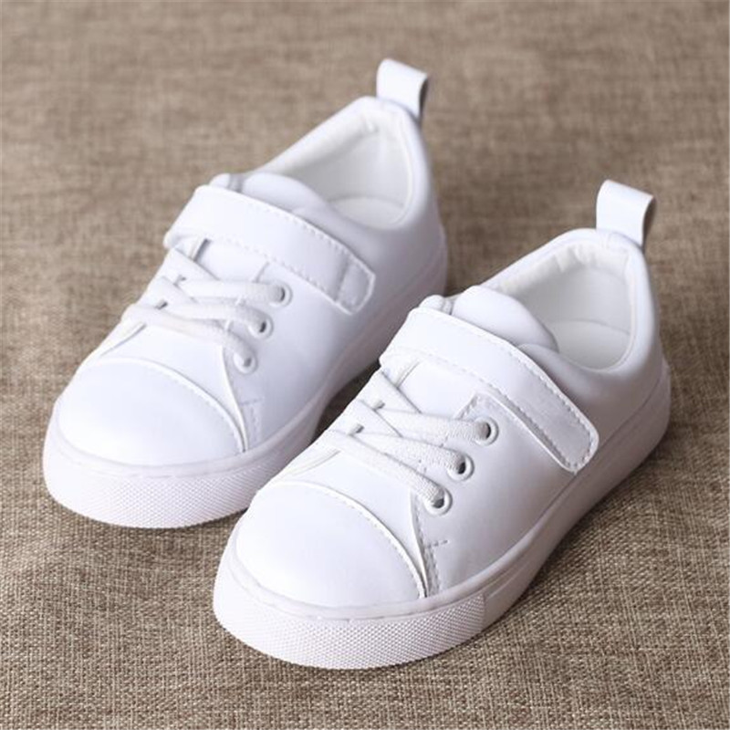 New Spring/Autumn Children Shoes Genuine Leather Sneakers Boys Girls Breathable Sports Flats Student White Kids Shoes Baby 02B aadct 2018 new spring autumn casual sports children shoes breathable leather shoes for girls boys soft sneakers kids shoes