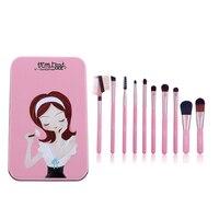 Nieuwe Leuke Meisje 10 Stks Mini Make borstel Set Roze Cosmetica Kit de pinceis de maquiagem Make up Tool Kit Borstels met Metalen Doos