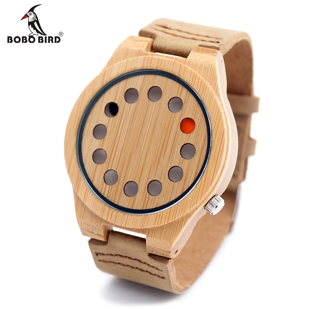 BOBO BIRD A04 New 12 Holes Design Mens Top Brand Wooden Bamboo Quartz Wrist Watches with