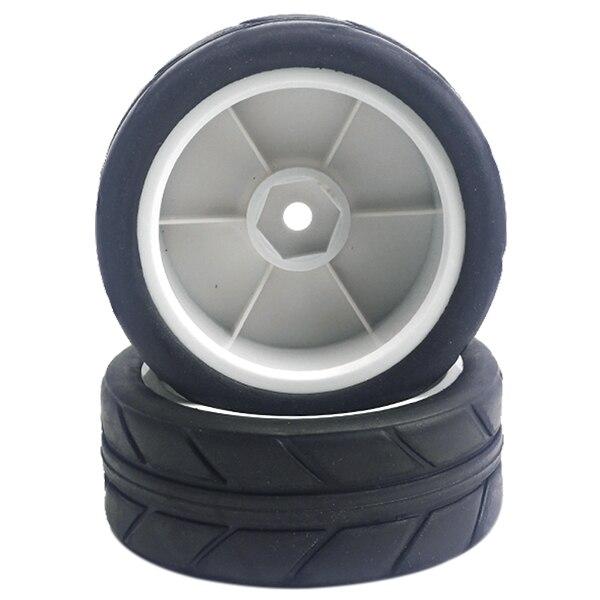 2PCS Hub Wheels +2 PCS Tires For HSP 1/10 On-Road Flat Racing /truck/tram, White+Black racing wheels h 480 7 0 r16 4x114 3 et40 0 d67 1