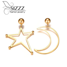 Sizzz 2017 New Star Moon Unusual Earrings Trendy Small Fresh Gold Color Drop For Women