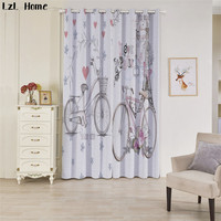 LzL Home 3d Cute Cartoon Bicycle Pattern Blackout Curtains For Living Room Luxury Chinese Home Decoration