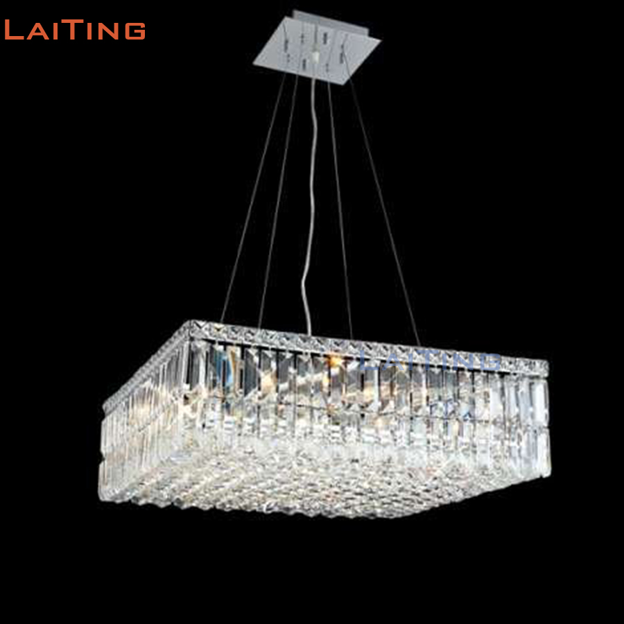 Us 311 0 round or square k9 crystal chandelier cheap modern steel wire light for corridor restaurant or dining room free shipping in chandeliers