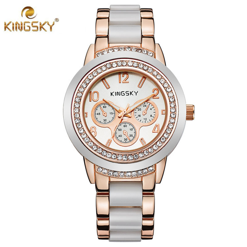 KINGSKY Luxury Brand Watches Women Fashion Casual Quartz Watch Rhinestone Silicone Gold Wristwatch Women Clock Relogio