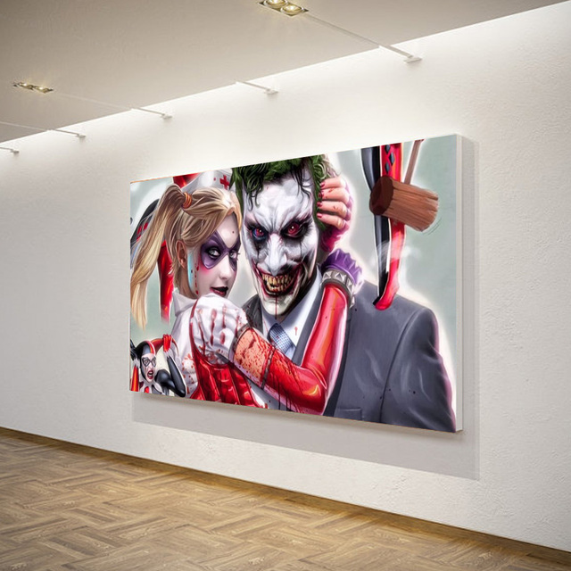 1 pieces joker harley quinn comics wall art canvas for Harley quinn bedroom ideas