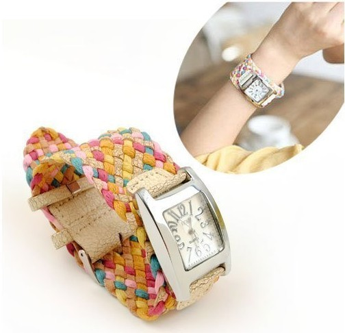real photo korea belt rope braid women dress wristwatches ladies knit bracelet woven watch rope cracked leather band W1872