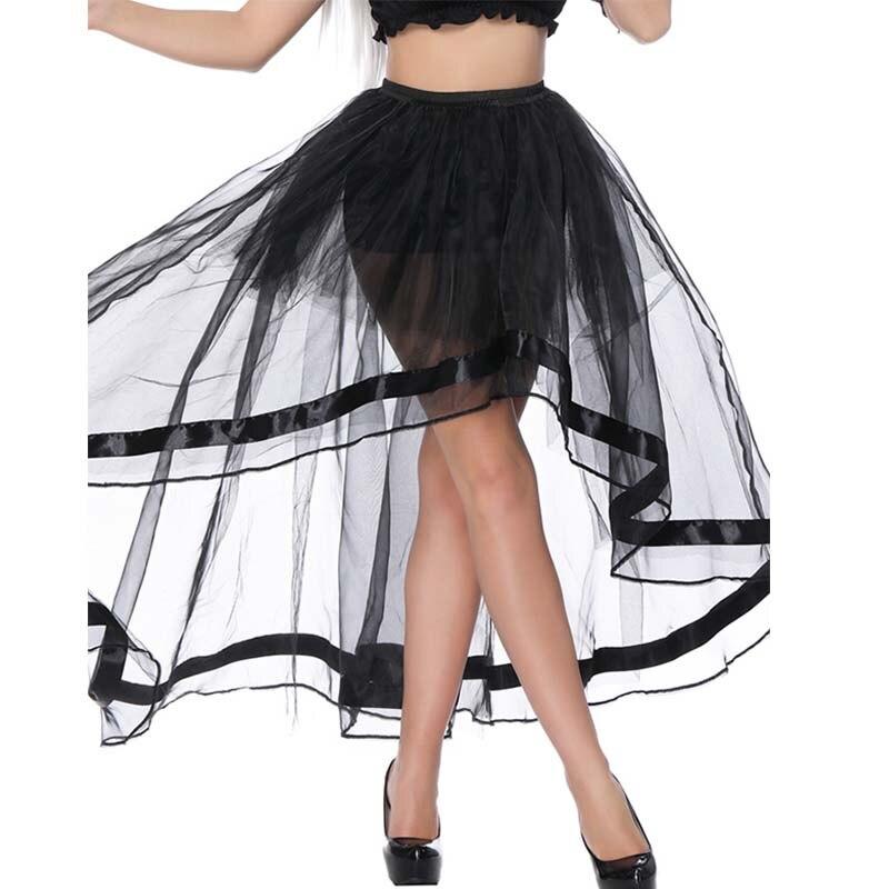 Elegant Summer 2018 Women Long Skirt Chiffon Saia Gothic Women Maxi Skirts High Waist Tutu Front Short Back Long Jupe Femme