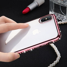 KISSCASE Diamond Frame Case For iPhone 5 5s SE Bling Case Ultra Thin Phone Cover For iPhone 8 7 6 6s Plus X Soft TPU Shell Funda hollowed diamond ring pattern titanium frame case for iphone 5 5s gold