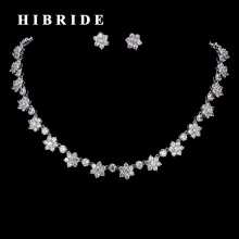 HIBRIDE Beautiful Flower Shape Rhinestone CZ Stone Wedding Jewelry Sets Elegant Women Necklace and Stud Earrings N-194