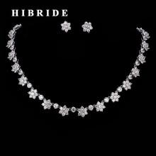 HIBRIDE Beautiful Flower Shape Rhinestone CZ Stone Wedding Jewelry Sets Elegant Women Necklace and Stud Earrings N-194