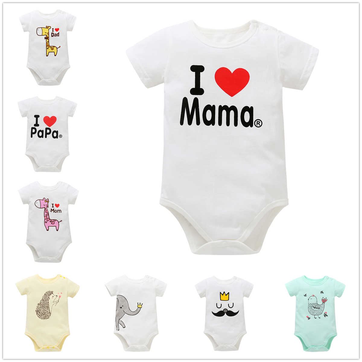 0-12M Newborn Baby Boy Romper Toddler Girl Rompers Clothes White Cotton Clothing Summer Unisex Infant Jumpsuit Cartoon Playsuit