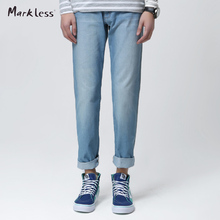 Markless Fashion Men's Jeans Summer Male Skinny  Jeans Wearing White Slim Trousers Mid Waist Straight Pants gentle blue