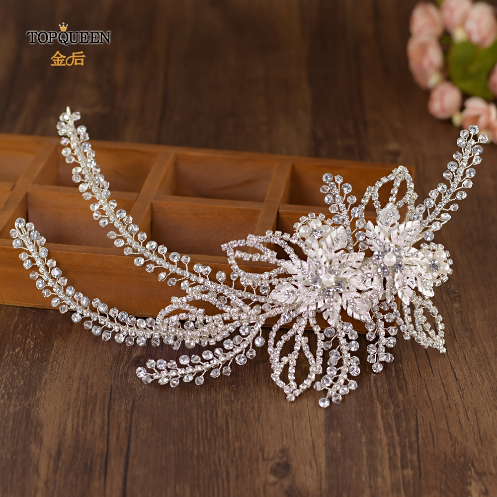 TOPQUEEN HP254 Wedding Headband Hair Accessories Sliver Wired Rhinestone Crystal Tiara Bridal Vines Womens Headbands Headpieces