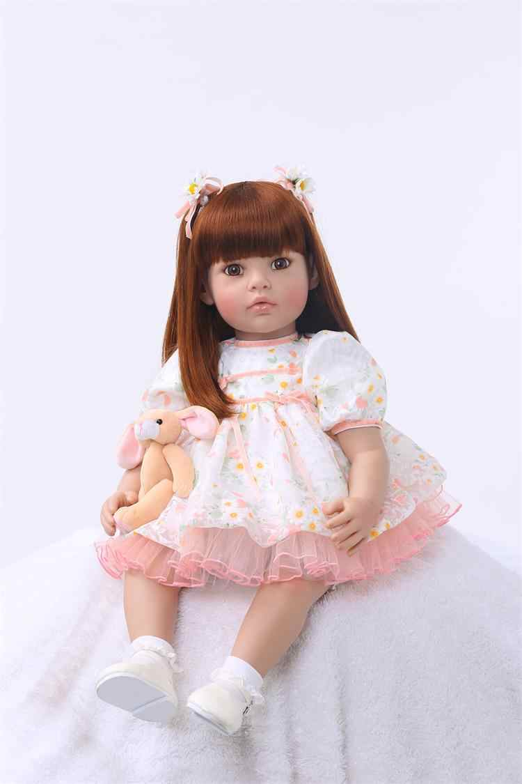"""Bebe 24 """"60 см настоящая девочка reborn Мягкие силиконовые виниловые куклы reborn baby высокого качества подарок ребенку куклы alive bonecas"""