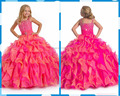 Hot Pink Lindo Bonito Ball Vestido Meninas Pageant Vestidos Ruffles Organza Frisada Pavimento Length Princesa Flor Meninas Vestem