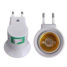 2Pcs High Quality E27 LED Light Male Socket To EU Type Plug Adapter Converter For Bulb Lamp Holder With ON/OFF Button 100V-240V(China)