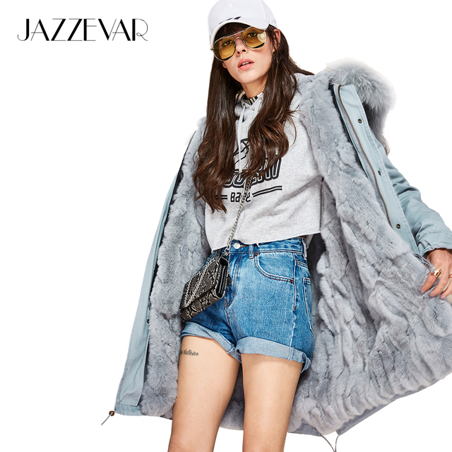 Jazzevar новые модные женские воротник из меха енота парка миди с капюшоном Военная Униформа пальто Верхняя одежда кроличий мех внутри зимняя куртка