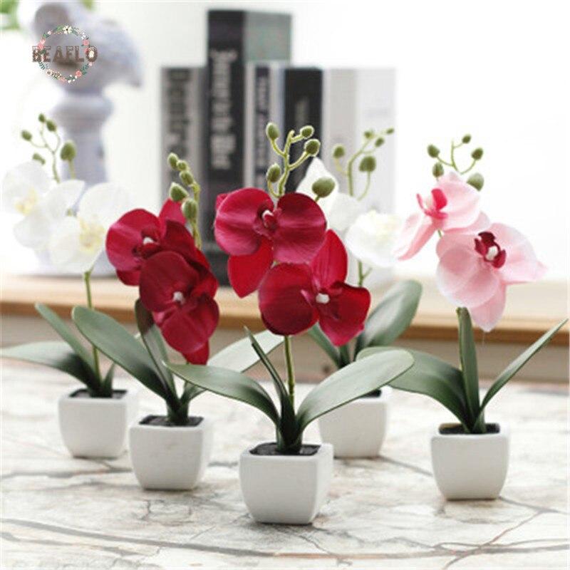 1 Pc Künstliche Blume Phalaenopsis Gefälschte Bonsai Seide Tuch Motte Orchidee Kunststoff Vergossen Home Party Dekoration