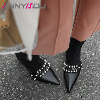 ANNYMOLI Autumn Ankle Boots Women Natural Genuine Leather Pearl Round Heel Sock Boots Stretch Pointed Toe Short Boots Ladies 40