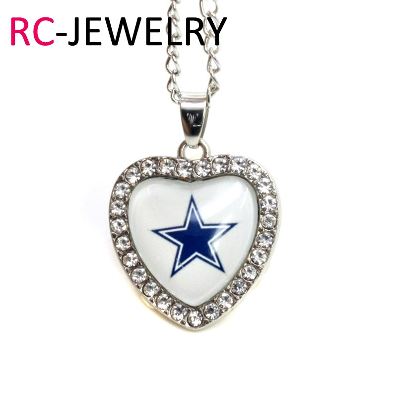 10pcs/lot Dallas Cowboys Heart Necklace Pendant Jewelry With Chains Necklace DIY Jewelry Football Sports Charms