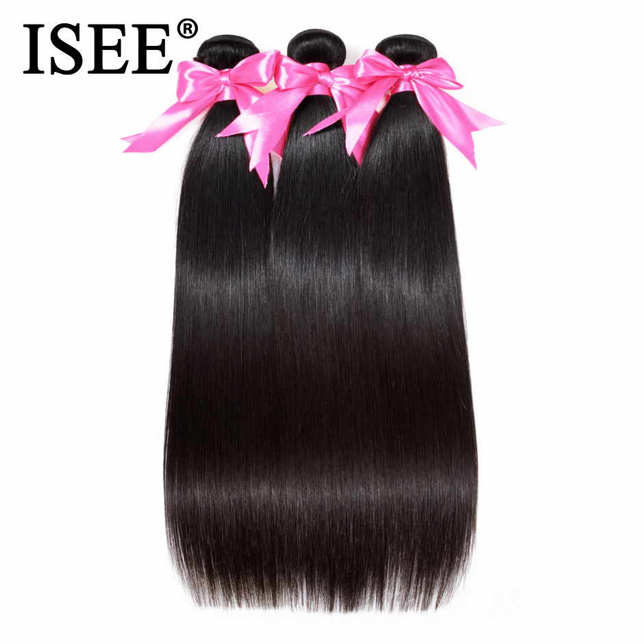 ISEE HAIR Brasilian Straight Hair Extensions 100% Remy Hair Weave Bundles Natur Farge 3 Bundler Human Hair Bundles Nature Color