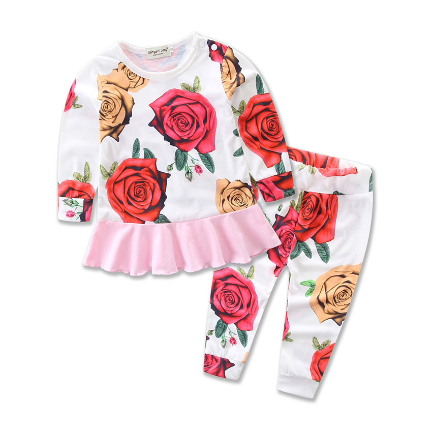 0~3Y Baby Girl Clothes Girls Summer Long Sleeve Clothing Set Newborn Bebe Menina Conjunto Infant Clothing Recien Nacido Ropa