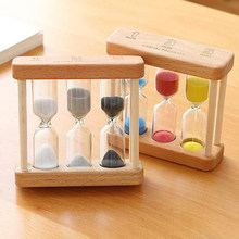 1 3 5 Minutes Wooden Hourglass Cute 3-in-1 Multifunction Sandglass for Home Table Tea Decoration Xmas Gift(China)
