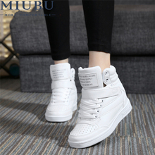 купить MIUBU Spring Autumn Ankle Boots Heels Shoes Women Casual Shoes Height Increased Wedges Shoes High Top Mixed Color онлайн