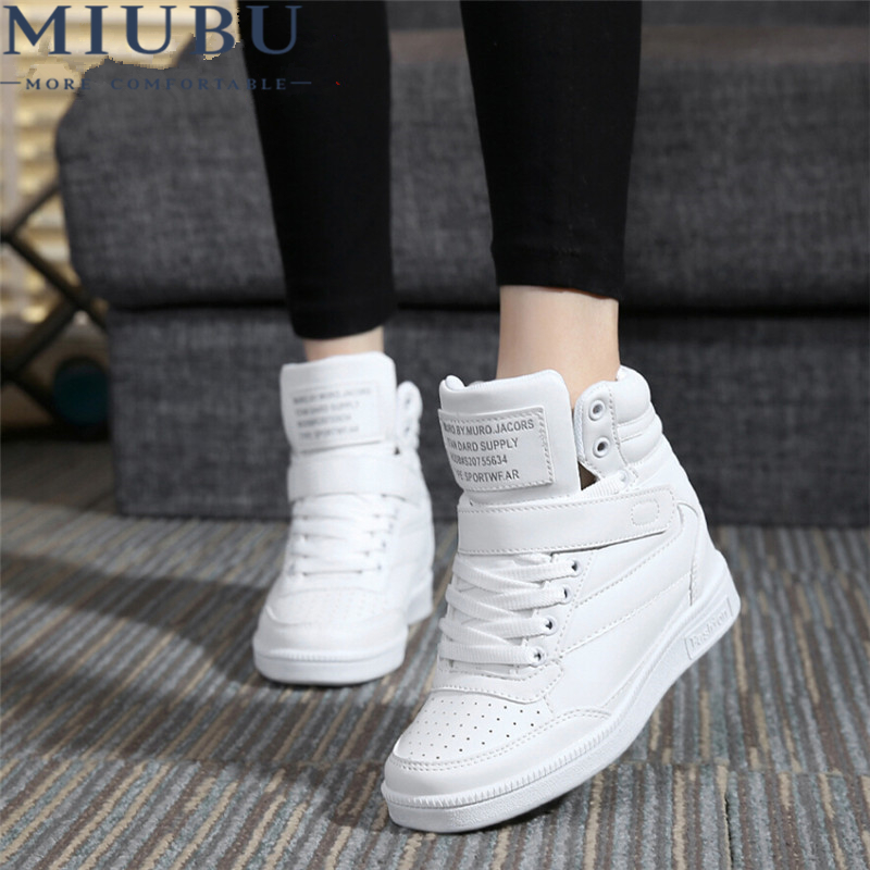 MIUBU Spring Autumn Ankle Boots Heels Shoes Women Casual Shoes Height Increased Wedges Shoes High Top Mixed Color