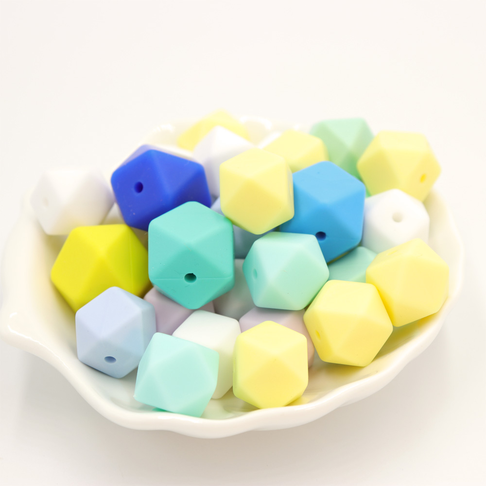 TYRY.HU 100Pcs/Lot 14mm Hexagon Shaped Silicone Beads Teething Baby Teether  Baby DIY Toy Tool Care Necklace Pacifier Chain
