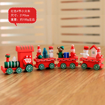 new Christmas train painted wood with Santa/bear Xmas kid toys gift ornament navidad Christmas Decoration for home new year gift 1