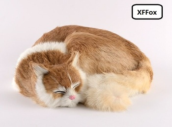 big real life sleeping cat model plastic&furs cute yellow cat doll gift about 29x31x10cm xf1422