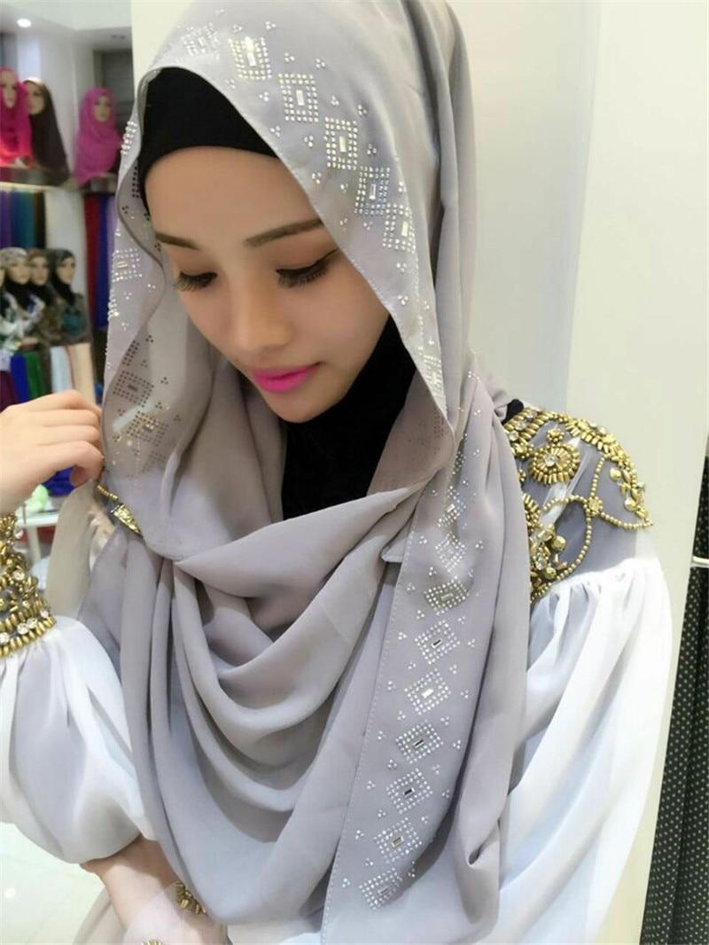 Women Hijab Long Scarf Muslim Headscarf Silk Hot Drilling -5250