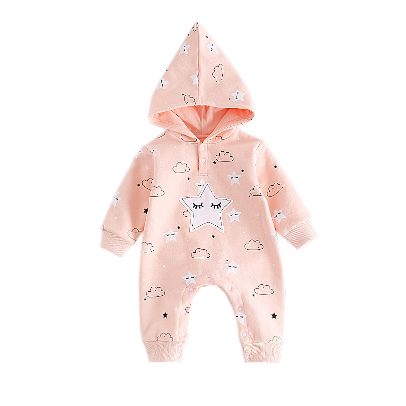 6fa96713f7b9 Dropwow Cute Newborn Baby Hooded Romper Smile Cloud Appliqued ...