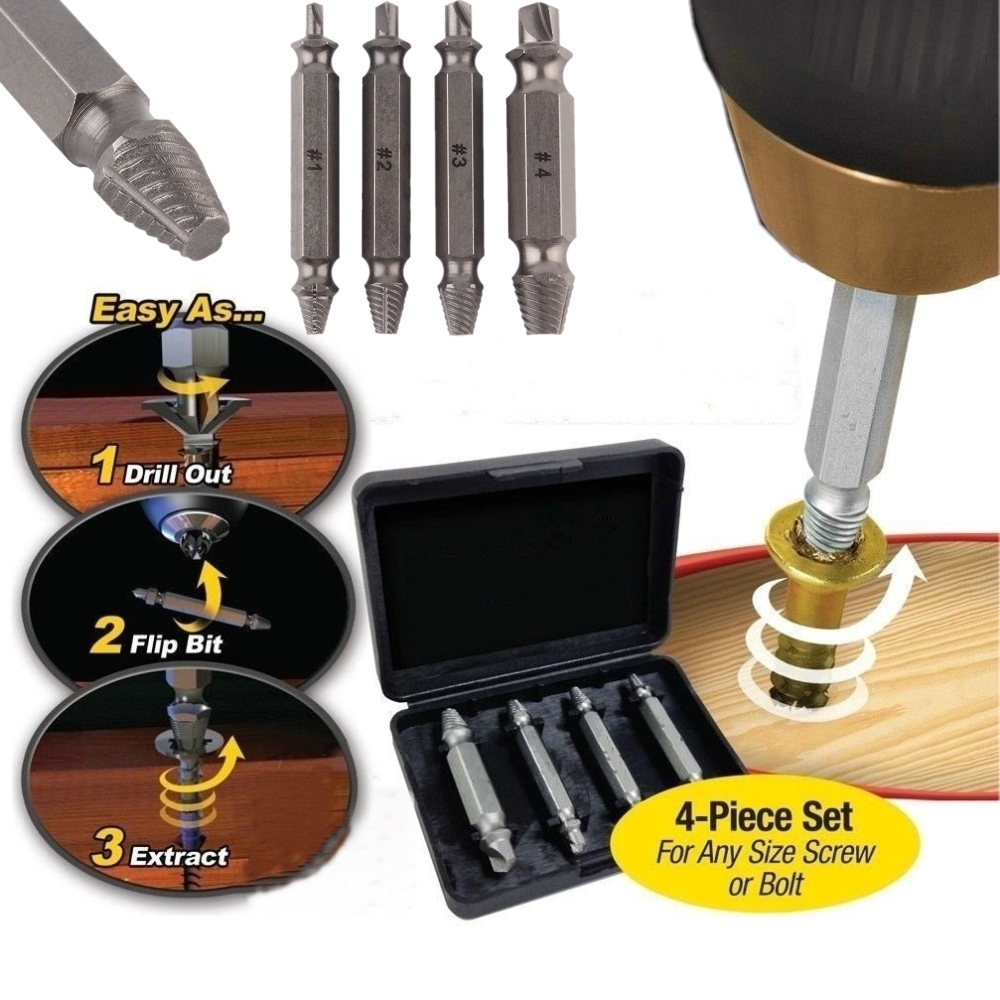 4pcs Double Side Screw Extractor Drill Bits Guide Set Broken Damaged Bolt Remover Speed Drill Out double side drill out damaged screw extractor drill bits out remover broken bolt stud removal tool kit 4pcs 1 2 3 4 with case